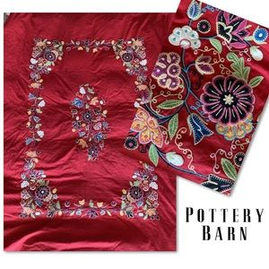 POTTERY BARN RED EMBROIDERED DUVET